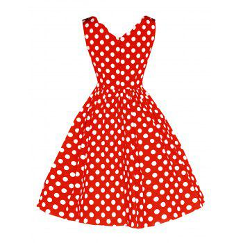 Vintage Polka Dot Flared Dress - RED L