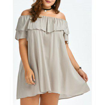 Plus Size Flounce Off The Shoulder Swing Dress