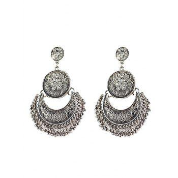 Vintage Engraved Flower Moon Beads Earrings