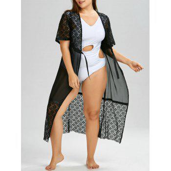 Plus Size Lace Sheer Long Kimono Robe Beach Cover Up