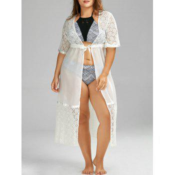 Plus Size Lace Sheer Chiffon Long Kimono Beach Cover Up