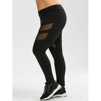 Plus Size Mesh Panel Active Leggings - BLACK 3XL