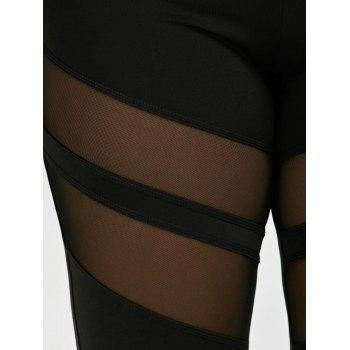 Plus Size Mesh Panel Active Leggings - BLACK 4XL
