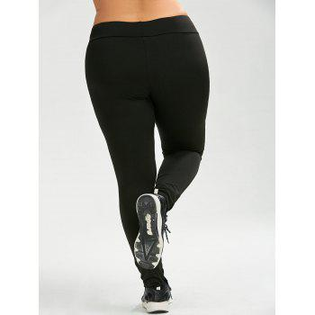 Plus Size Mesh Panel Active Leggings - BLACK BLACK