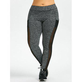 Plus Size Mesh Workout Leggings With Pockets - XL XL
