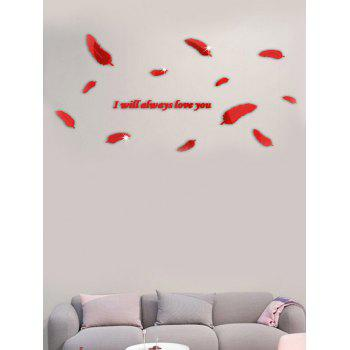 I will always love you DIY Feather Acrylic 3D Mirror Wall Stickers