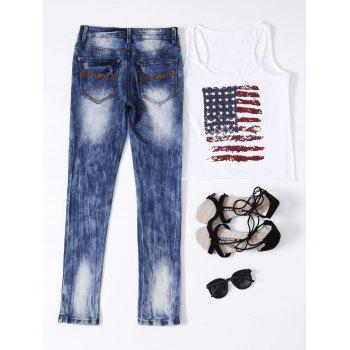 Ripped Button Fly Bleached Jeans - S S