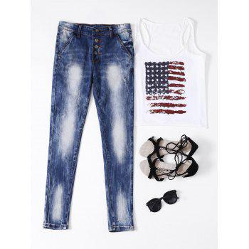 Ripped Button Fly Bleached Jeans - BLUE S