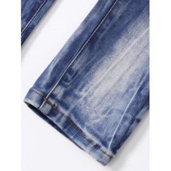 Ripped Button Fly Bleached Jeans - BLUE M
