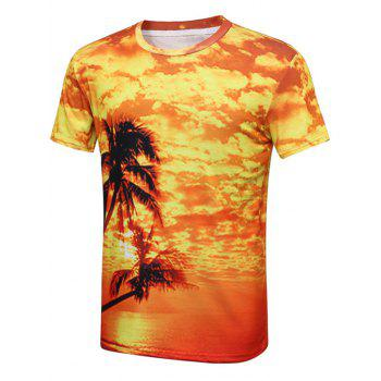 Palm Tree Sunset Print Hawaiian T-Shirt