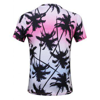 Coconut Tree 3D Print Ombre T-Shirt - COLORMIX 3XL