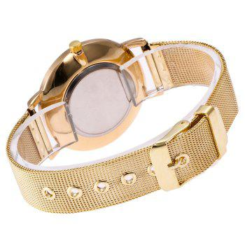 Mesh Steel Band Marble Face Watch -  GOLDEN
