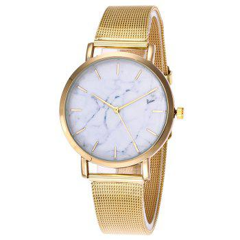 Mesh Steel Band Marble Face Watch - GOLDEN GOLDEN