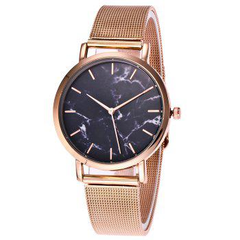 Mesh Steel Band Marble Face Watch - ROSE GOLD ROSE GOLD