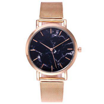 Mesh Steel Band Marble Face Watch - ROSE GOLD