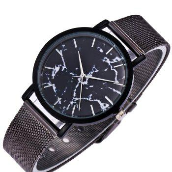 Mesh Steel Band Marble Face Watch -  BLACK