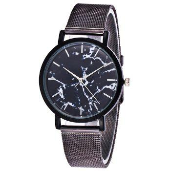 Mesh Steel Band Marble Face Watch - BLACK BLACK