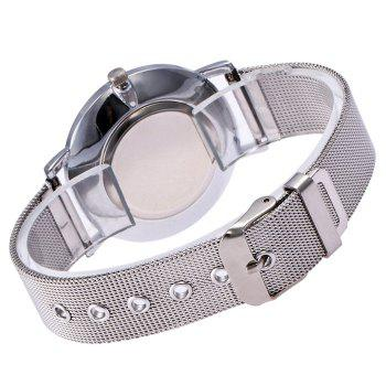 Mesh Steel Band Marble Face Watch -  SILVER