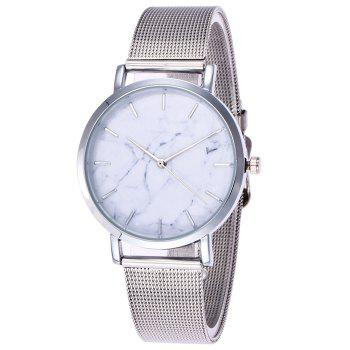 Mesh Steel Band Marble Face Watch - SILVER SILVER