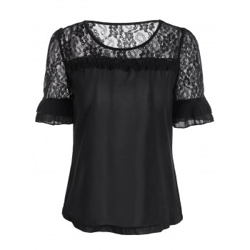 Lace Trim Panel Chiffon Blouse