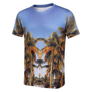 Crew Neck T-Shirt with Coconut Tree Print