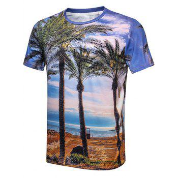 Beach Sky Coconut Tree Print Crew Neck T-Shirt
