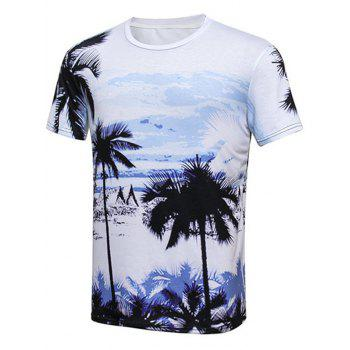 Palm Tree Printed Round Neck Hawaiian T-shirt
