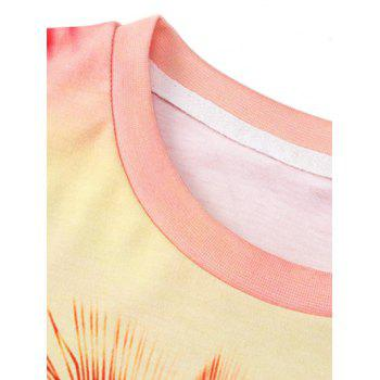 The Setting Sun Coconut Tree Print T-Shirt - COLORMIX 3XL