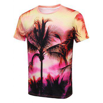 The Setting Sun Coconut Tree Print T-Shirt
