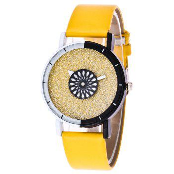 Faux Leather Strap Glitter Watch