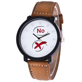 Yes No Faux Leather Watch