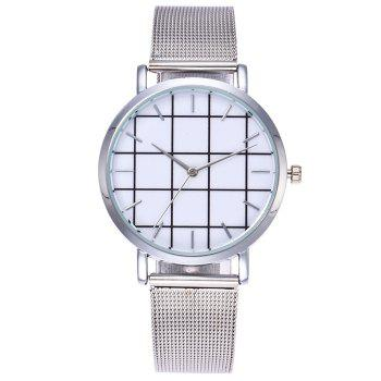 Steel Mesh Band Grid Quartz Watch