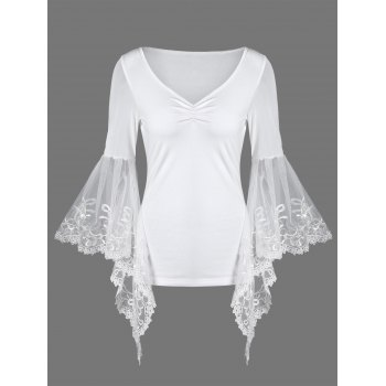 Bell Sleeve Lace Panel Plus Size T-Shirt