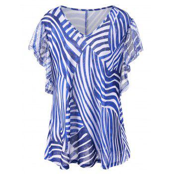 Plus Size V Neck Zebra Stripes T-Shirt with Rhinestone