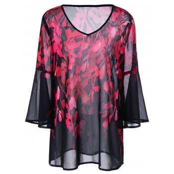 Plus Size Floral Bell Sleeve Blouse