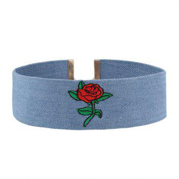 Rose Flower Denim Embroidery Choker Necklace