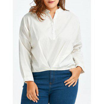Plus Size Linen High Low Henley Shirt