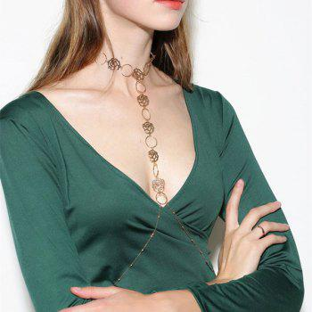 Rose Floral Body Chain -  GOLDEN