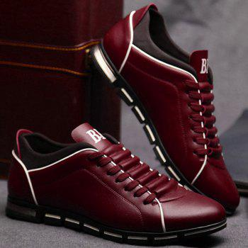Trendy Splicing and PU Leather Design Men's Casual Shoes - 43 43
