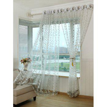 Leaf Rattan Sheer Window Tulle Curtain - WHITE W42INCH*L95INCH