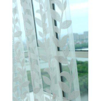 Feuille rotin Fenêtre Sheer Tulle rideau - Blanc W42INCH*L95INCH