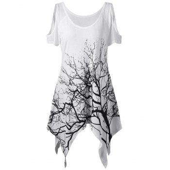 Cold Shoulder Life Tree Printed Asymmetric T-Shirt
