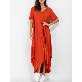 High Low Short Sleeve Casual Maxi Dress
