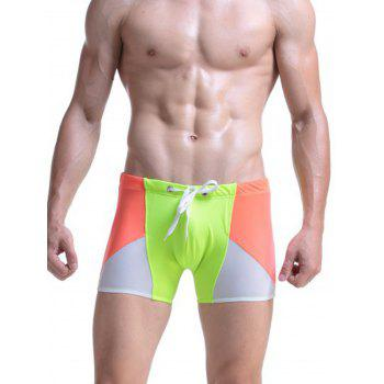 Lace Up Stretchy Color Block Panel Swimming Shorts