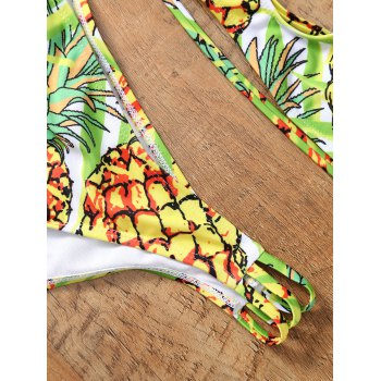 Stripy Back Pineapple Halter Bikini - LIGHT YELLOW L