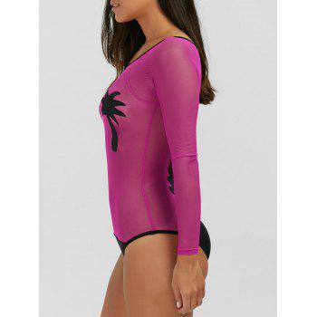 See-Through Coconut Tree Swimwear - ROSE MADDER S