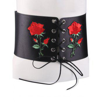 Snap Button Lace Up Embroidered Corset Belt - BLACK BLACK