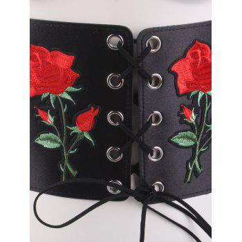 Snap Button Lace Up Embroidered Corset Belt - BLACK