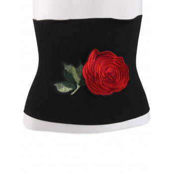 Wide Elastical Floral Embroidered Chinoiserie Corset Belt