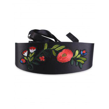 Floral Embroidered Chinoiserie Band Corset Belt